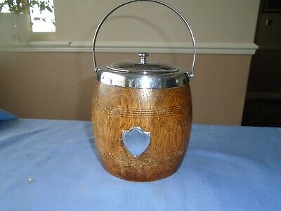 ANTIQUE VINTAGE OAK WOOD & CHROME ICE BUCKET OR WOODEN BISCUIT STORAGE CONTAINER