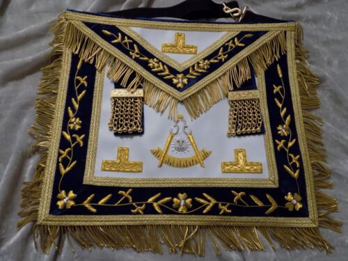 Past Master Masonic Apron Logo w/o Square Chains Gold Bullion Satin Pocket NEW!
