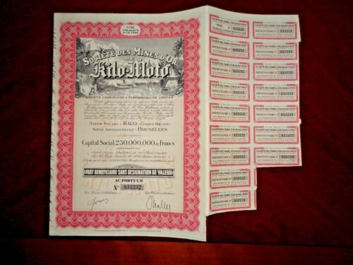 Mines d´Or Kilo-Moto ,Gold Mining  Congo stock certificate 1940   VG/F