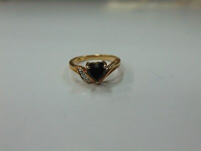 10K yellow gold ring with heart shaped lab created ruby. - Gold Heart Shaped Lab