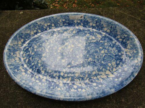 "Stangl Blue Town and Country Platter- Sponge Splatter Ware ~ 15.0"""