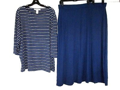 Freelance Modal Spandex Women Wardrober Skirt Set 3X Blue Striped Stretch J632 3/4 Sleeve Spandex Skirt