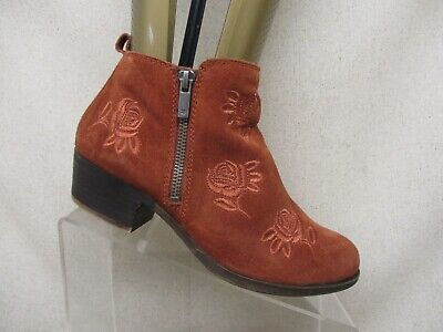 LUCKY BRAND Brown Suede Side Zip Fashion Ankle Boots Booties Size 7 M (Side Zip Fashion Boots)