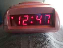 Pink Advance Digital LED Display Alarm Clock W/Snooze & Battery Backup