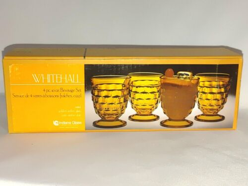 Indiana Glass Company WHITEHALL 4 Golden Amber Cooler Glasses 10 oz Brand New