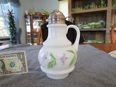 ANTIQUE WHITE MILK GLASS RING HAND PAINTED SYRUP covid 19 (Ring White Pitcher coronavirus)