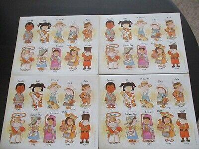 VINTAGE HALLMARK STICKERS ~ CHILDREN KIDS HELLO FOREIGN LANGUAGES ~ 4 SHEETS