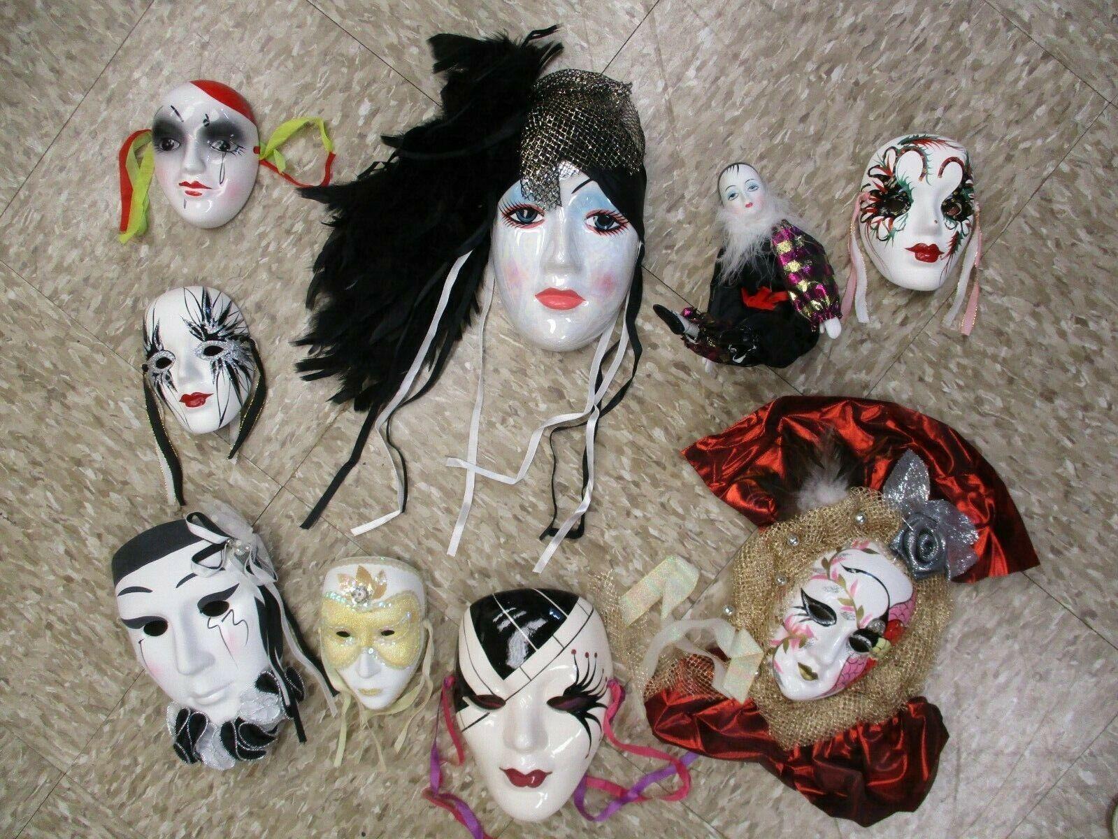 Ceramic Mardi Gras Mask Wall Art Lot Of 8