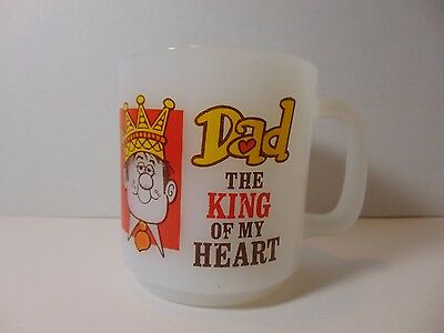 Vintage 1980 Milk Glass Glasbake Mug Dad The King of My Heart Paula Co.
