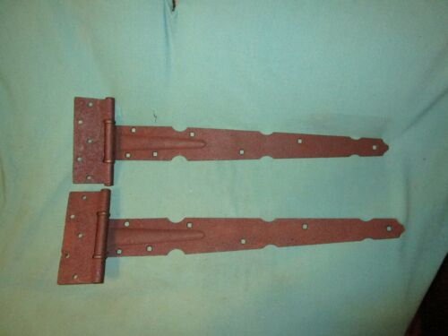 "Pair Of Vintage Large 27"" Long Heavy Duty Barn Door Strap Hinges"