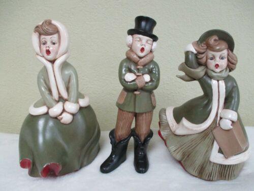 Atlantic Mold Ceramic Christmas Carolers Set Of 3 Vintage Hand Painted