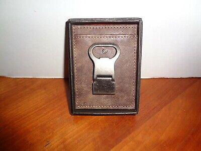 Mad Man Brown Leather Slim Front Pocket Wallet Money Clip Bottle Opener