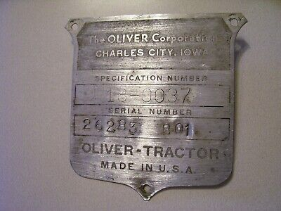 Vintage Oliver 88 Row Crop Tractor -serial Plate - Nice - 1955