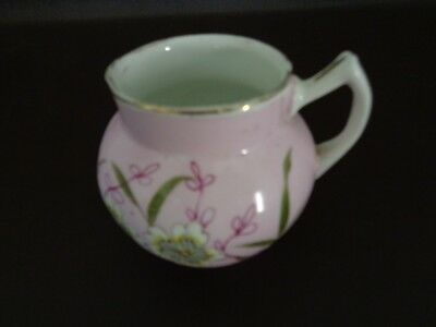 Small Pink Floral Porcelain Creamer (Unmarked) (Cat.#2B043) Floral Porcelain Creamer