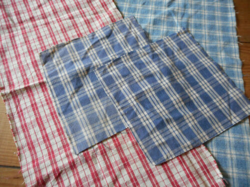 Antique Early PA. Cotton Linen Homespun Fabric Pieces ~ Blue Red ~ Projects