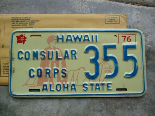 Hawaii  1976 Cons. Corps license plate #  355