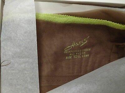 Hanes 3 Pair 415 10-1/2L Long Reinforced Sheer Stockings Vintage RHT