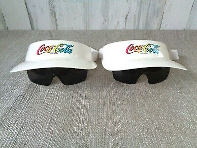 Vintage Uvex Flip Coca Cola Plastic Visor Hat With Attached flip down Sunglasses