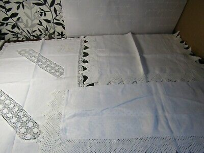 3 Vintage Linen & Lace Tray Cloths 1 With Gold Floral Embroidery