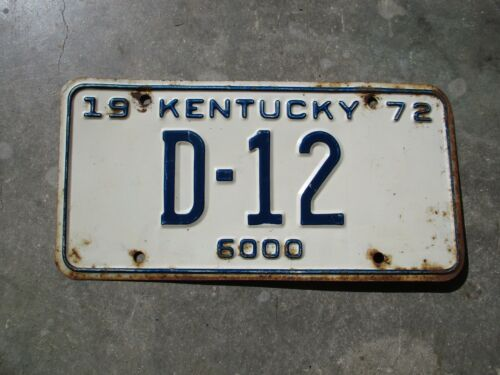 Kentucky 1972 license plate #   D - 12