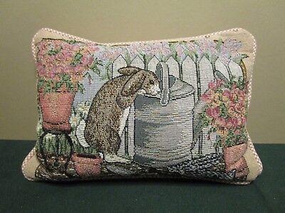 Vintage Tapestry Pillow - Rabbit In A Flower Garden for sale  Berwyn
