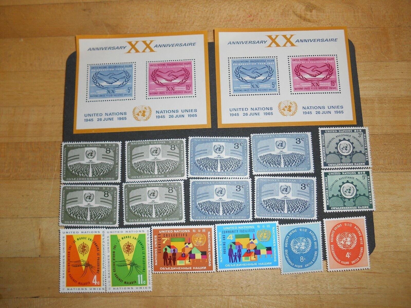 U.N. 20th Anniversary 1965 Sc UN145. U.N 102-103, 63-64, 19-20, 45-46, MNH. - $3.00