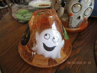 YANKEE CANDLE HALLOWEEN FRIENDS CRACKLE GLASS SHADE/ PLATE FOR HALLOWEEN