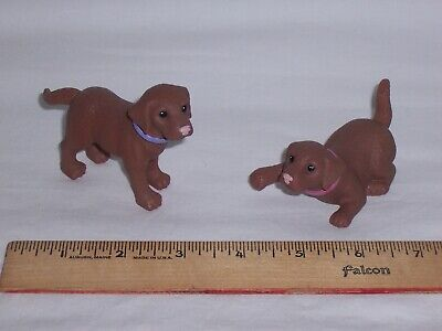 Lot of 2 Mattel Barbie Pets Bobble Head Dogs Chocolate Lab VGC