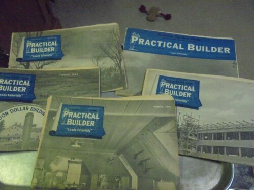 Vintage Lot of Five 1941 and 1942 Practical Builder Paper Magazine