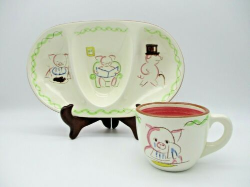 """Stangl Pottery Kiddieware """"Five Little Pigs"""" Divided Plate / Dish and Cup #3948"""