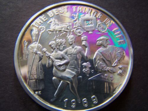 1969 Bacchus THE BEST THINGS IN LIFE Fine Silver Mardi Gras Doubloon-1st Year