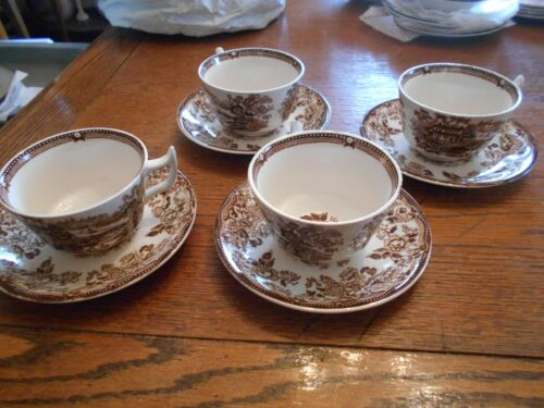 4 Royal Staffordshire England TONQUIN Brown Cups & Saucers Unused 2980