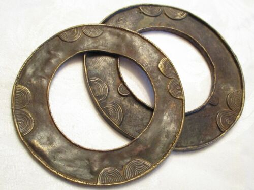 VERY UNIQUE Antique AFRICAN Bronze or Brass BANGLE BRACELETS with COILED DESIGNS