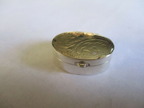 Sterling Silver 925 pill box oval shape engraved 1 1/8 long 3/4 inch wide