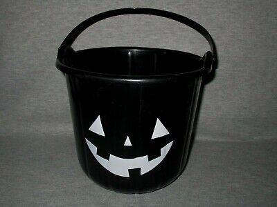 BLACK HALLOWEEN JACK-O-LANTERN PLASTIC CANDY BUCKET PAIL