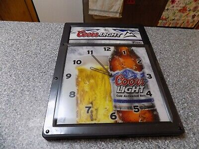 """Coors Light Beer Back Bar Clock Sign RARE Vintage brewery 14"""" by 19"""""""
