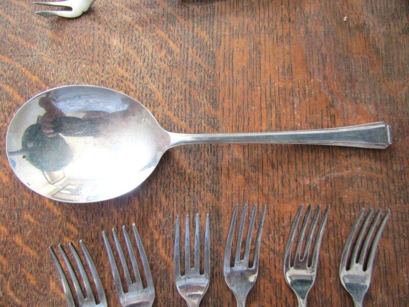 "JBS EPNS Silver Antique English MOTHER OF PEARL Sardine Fish Serving Fork 5-7//8/"""