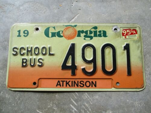 Georgia 1995 School Bus license plate #  4901