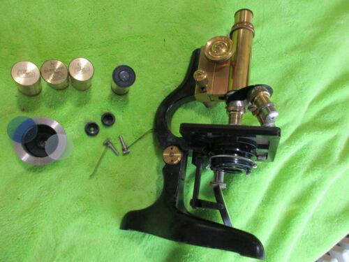 Vintage Antique Brass ERnst Leitz Wetzlar No 208524 Microscope & Acc. (jk)