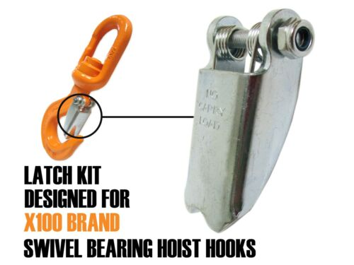 Forged Latch Kit for X100 Swivel Bearing Alloy Hooks, Notched Tip, Replacement