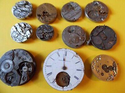 11 Older Mechanical Pocket Watch Movements 50's-60's Lot# X3