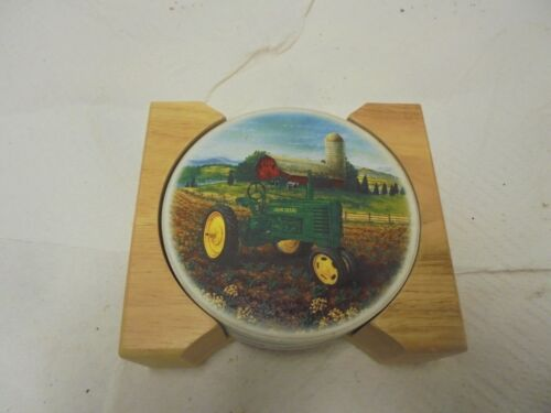 "set of 4 coasters john deere tractor ceramic with cork back wooden rack 4"""