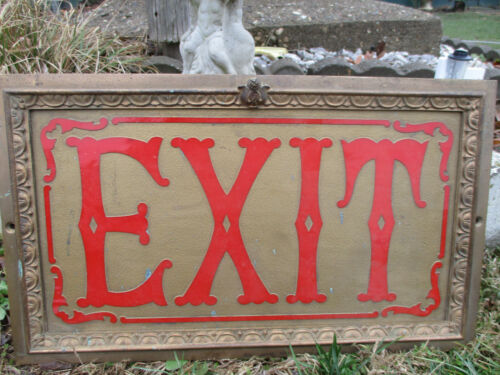 EXQUISITE ORNATE ANTIQUE PATINATED BRASS THEATRE EXIT SIGN EMBOSSED RED LETTERS