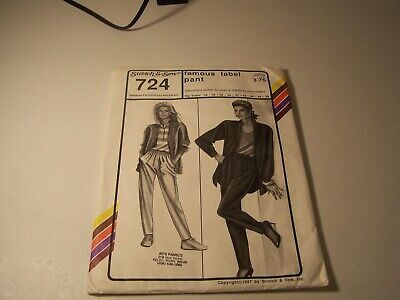 Stretch & Sew Famous Label Pants Pattern 724 Loose Tapered Elastic Waist 32-48 Womens Famous Label