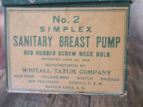 VINTAGE NO.2 SIMPLEX BREAST PUMP #255 with BOX GLASS RED BULB WORKS