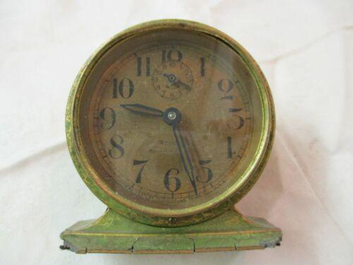 Vintage 1927 Westclox Baby Ben Alarm Clock green gold Crackle Model 4A runs