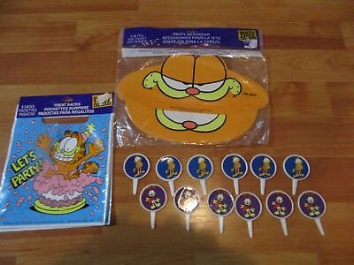 Garfield Birthday Party Supplies 3pc Lot Party Express Multi-color NOS