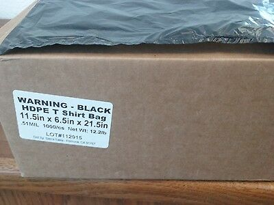 Black T Shirt Bags Large HDPE 13 Mic. or .51 Mil. 11.5