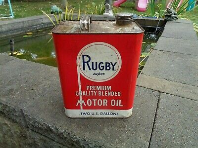 VINTAGE ANTIQUE MOTOR OIL CAN RUGBY PENNSYLVANIA PETROLEUM PHILADELPHIA PA TIN