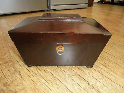 Antique Victorian 9th Century Rosewood Sarcophagus Form Tea Caddy on Pad Feet.